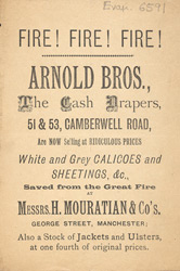 Advertisement for Arnold Brothers' drapers store